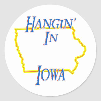 Iowa - Hangin' Classic Round Sticker
