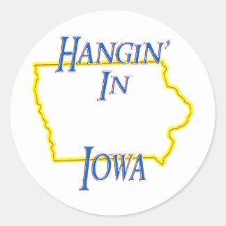 Iowa - Hangin Pegatinas Redondas