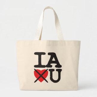 Iowa Hates You Large Tote Bag