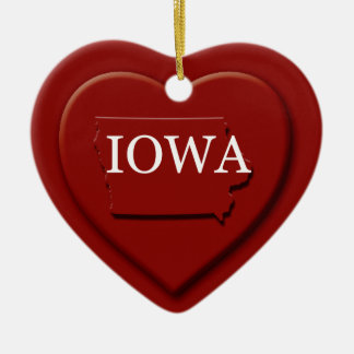 Iowa Heart Map Christmas Ornament