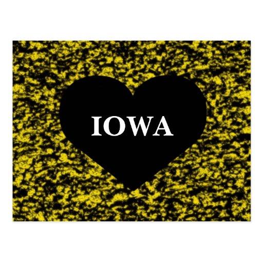 Iowa Heart Yellow Postcard