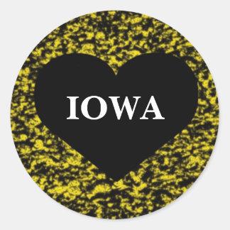 Iowa Heart Yellow Classic Round Sticker