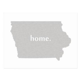 Iowa home silhouette state map postcard