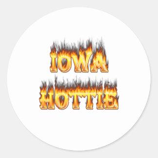 Iowa hottie fire and flames sticker