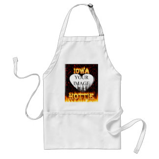 Iowa Hottie fire and red marble heart Adult Apron