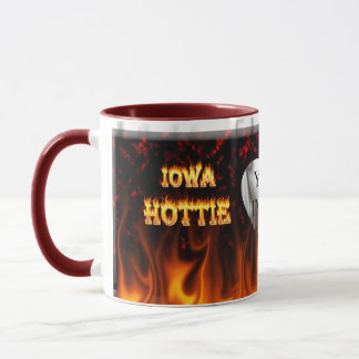 Iowa Hottie fire and red marble heart Mug