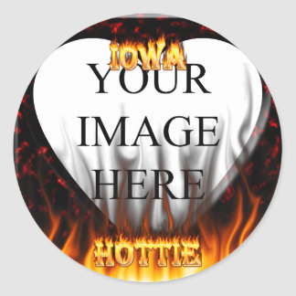 Iowa Hottie fire and red marble heart Stickers