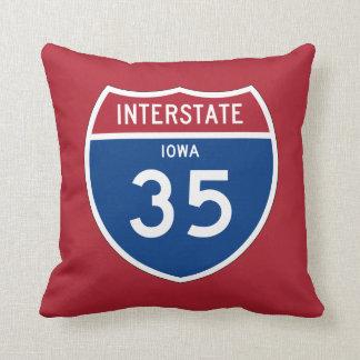 Iowa IA I-35 Interstate Highway Shield - Throw Pillow