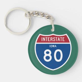 Iowa IA I-80 Interstate Highway Shield - Keychain