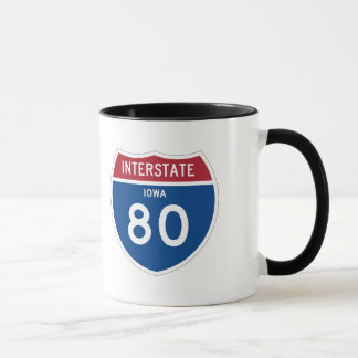 Iowa IA I-80 Interstate Highway Shield - Mug