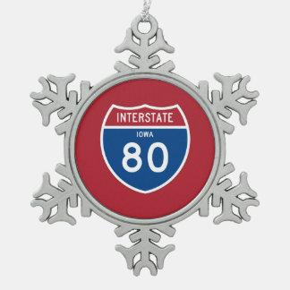 Iowa IA I-80 Interstate Highway Shield - Snowflake Pewter Christmas Ornament