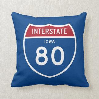 Iowa IA I-80 Interstate Highway Shield - Throw Pillow