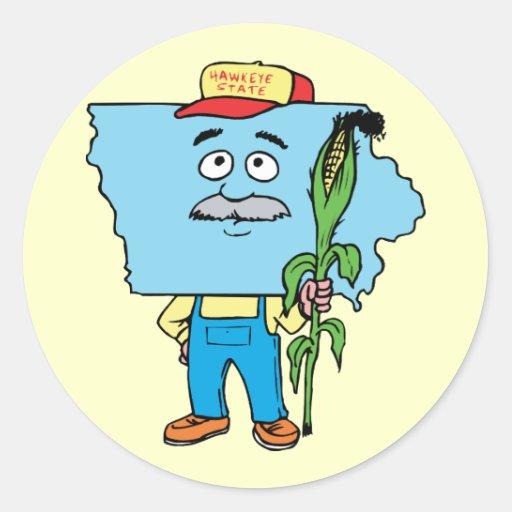 Iowa IA Iowan Corn Vintage Travel Souvenir Round Stickers