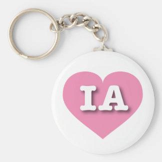 Iowa IA pink heart Keychain