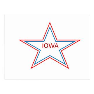 Iowa in a star. postcard