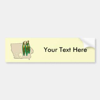Iowa IO Map & Corn Husker Cartoon US Motto Car Bumper Sticker
