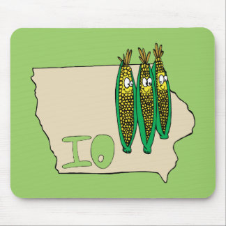 Iowa IO Map & Corn Husker Cartoon US Motto Mouse Pad