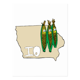 Iowa IO Map & Corn Husker Cartoon US Motto Postcards