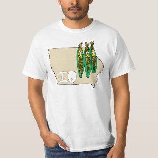 Iowa IO Map & Corn Husker Cartoon US Motto T-Shirt