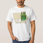 Iowa IO Map & Corn Husker Cartoon US Motto Tee Shirts