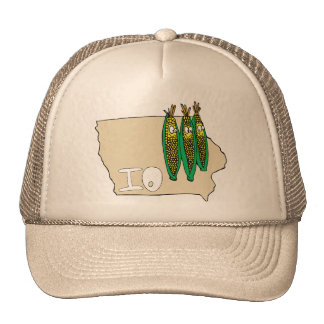 Iowa IO Map & Corn Husker Cartoon US Motto Trucker Hat
