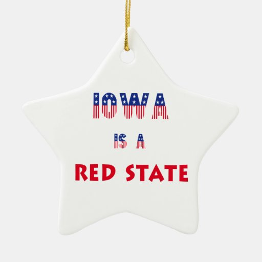 Iowa is a Red State Double-Sided Star Ceramic Christmas Ornament