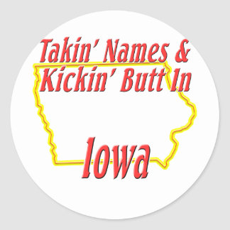 Iowa - Kickin' Butt Classic Round Sticker