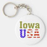 ¡Iowa los E.E.U.U.! Llavero Personalizado