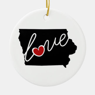 Iowa Love!  Gifts for IA Lovers Ceramic Ornament