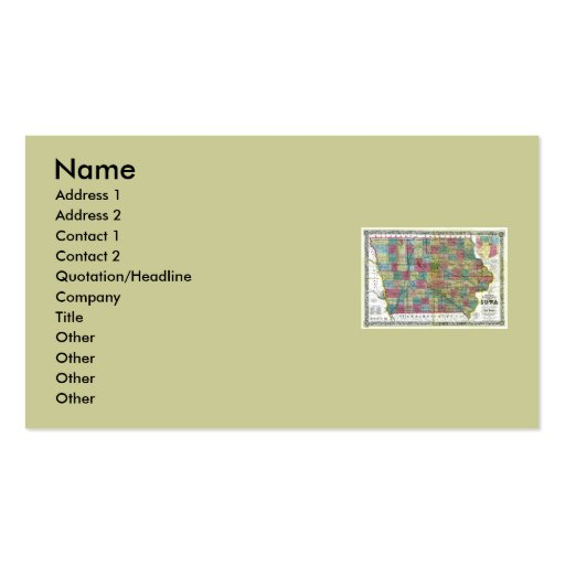 Iowa Map and State Flag Double-Sided Standard Business Cards (Pack Of 100)