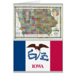 Iowa Map and State Flag Greeting Cards