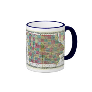 Iowa Map and State Flag Ringer Coffee Mug