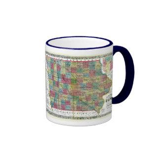 Iowa Map and State Flag Ringer Mug