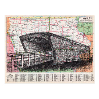 Iowa Map Art Postcard