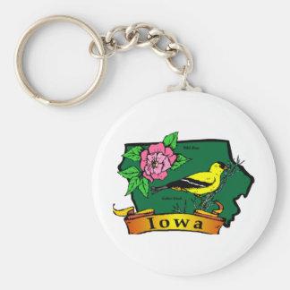 Iowa Map Basic Round Button Keychain