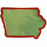 "Iowa Map Christmas Ornament Cut Out<br><div class=""desc"">This acrylic ornament shaped from a relief map of Iowa surrounded by festive trim will add novel Iowan flair to your seasonal decorations. Also available as a pin,  magnet or keychain. 