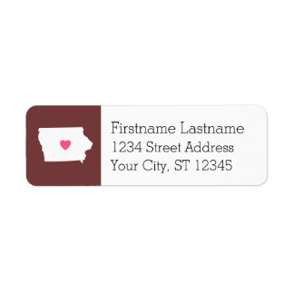 Iowa Map Home State Love with Custom Heart Label
