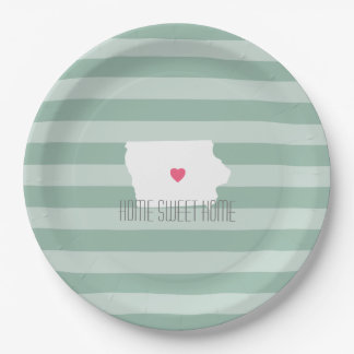 Iowa Map Home State Love with Custom Heart Paper Plate