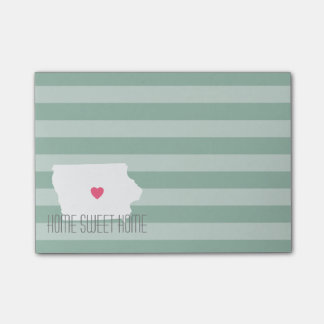 Iowa Map Home State Love with Custom Heart Post-it® Notes