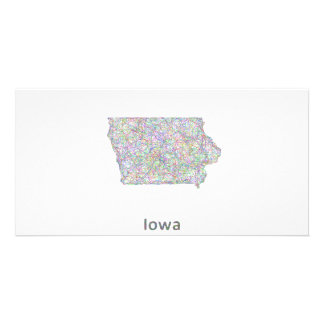 Iowa map photo card