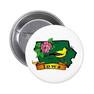 Iowa Map Pinback Button