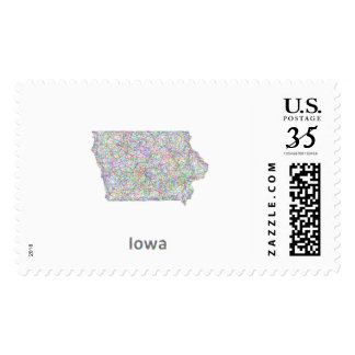 Iowa map postage stamps