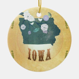 Iowa Map With Lovely Birds Ceramic Ornament