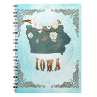 Iowa Map With Lovely Birds Spiral Notebook