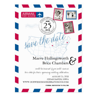 Iowa & Massachusetts Airmail Save The Date Postcard