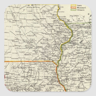 Iowa, Missouri, e Illinois Pegatina Cuadradas Personalizadas