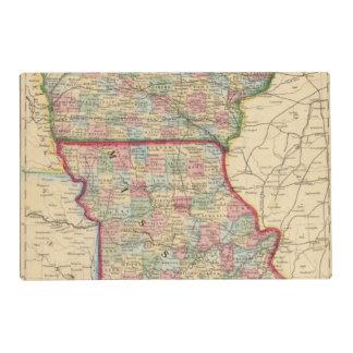 Iowa, Missouri Map by Mitchell Laminated Placemat