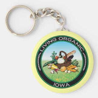 Iowa orgánico llavero redondo tipo pin