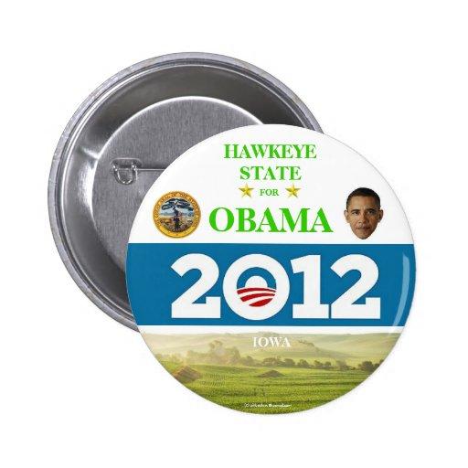 IOWA PARA el botón político del pinback de OBAMA 2 Pins