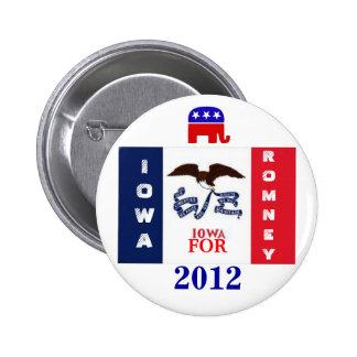 Iowa para Romney 2012 Pin